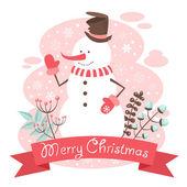 Snowman Christmas congratulation postcard — Stock Vector
