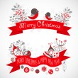 Stock Vector: Christmas greeting banners with decorative winter elements