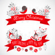 Christmas greeting banners with decorative winter elements — Stock Vector