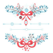Set of Christmas and New Year decorative elements — Stock Vector