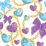 Shiny ruby heart pendants seamless pattern — Stock Vector
