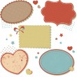 Retro romantic love stickers and tags — Stock Vector
