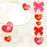 Card with Shiny ruby heart pendants — Stock Vector