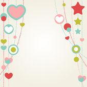 Cute congratulation card with border of hearts — Stock Vector