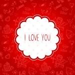 Doodle Valentines day scrapbook love postcard — Stock Vector