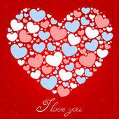 Cute Valentine love congratulation card — Stock Vector
