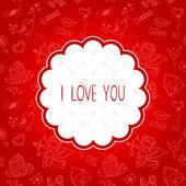 Doodle Valentines day scrapbook love postcard — Wektor stockowy