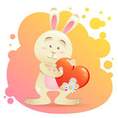 Bunny pet isolated holding heart — Vettoriale Stock