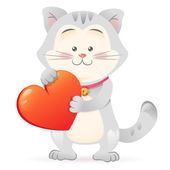 Cat pet isolated holding heart — Vecteur
