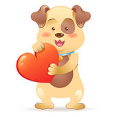 Dog pet isolated holding heart — Stock Vector