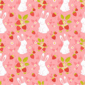 Cute rabbits and wild strawberries folk seamless pattern — Stockvector