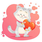Cat pet isolated holding heart — Stock Vector