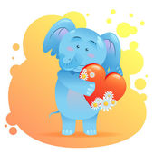 Elephant pet isolated holding heart — Stock Vector