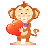 Monkey pet isolated holding heart — Stock Vector