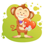 Monkey pet isolated holding heart — Vecteur