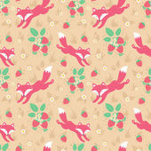 Cute foxes and strawberries folk seamless pattern — Stock Vector