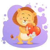 Lion pet isolated holding heart — Vettoriale Stock