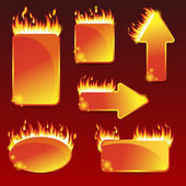 Burning with fire design sale stickers and tags — Stock Vector