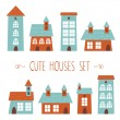 Set of cute houses hand drawn style — Stock Vector