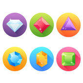 Set of flat icons with precious jewels — Vector de stock