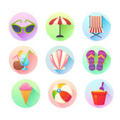 Flat trendy summer colorful icons set  — Stock Vector