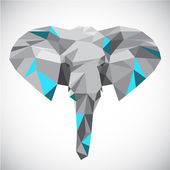 Low polygonal elephant head in popular style — Stock Vector