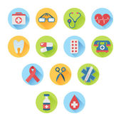 Colorful medical icon set flat style — Stock Vector