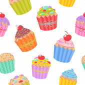 Cute seamless pattern with muffins and cupcakes — Stock Vector