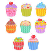 A set of tasty muffins and cupcakes  — Stok Vektör