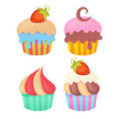 Set of tasty colorful muffins — Vecteur