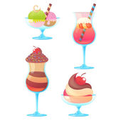 Delicious realistic ice-cream set on white background — Stock Vector