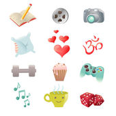 Set of hobby icons showing pastime activities — Vecteur