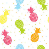 Pineapples colorful seamless texture pattern — Stock Vector
