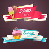 Delicious sweet set of glittering and sparkling banners — Stock Vector