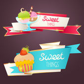Delicious sweet set of glittering and sparkling banners — Vecteur