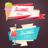Delicious sweet set of glittering and sparkling banners — Vector de stock