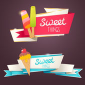Delicious sweet set of glittering and sparkling banners — Stok Vektör