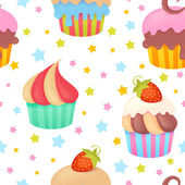 Cute colorful seamless pattern with muffins — Stock Vector