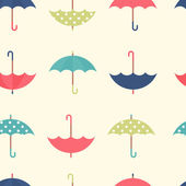 Autumn seamless pattern with a set flat umbrellas — Stock Vector
