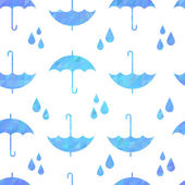 Cute autumn seamless pattern with a set of flat umbrellas  — Stock Vector