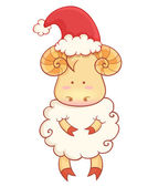 Cute cartoon baby sheep wearing santa hat — Stock Vector