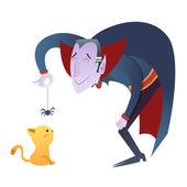 Cute cartoon Dracula vampire character — Stock Vector