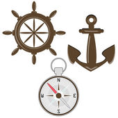 Set of helm, compass and anchor — Stock Vector