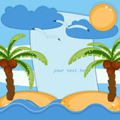 Greeting card with palms and sea — Vector de stock