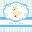 Stock Vector: Greeting card with cute duck for babies