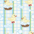 Seamless pattern with cute ducks in tub - Stock Vector