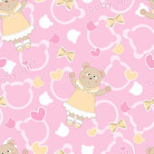 Baby shower seamless pattern with cute bears — Stock Vector