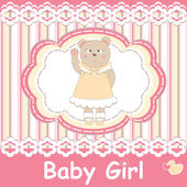 Baby shower invitation with cute bear — ストックベクタ