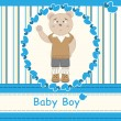 Stock Vector: Baby shower invitation with cute bear boy