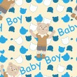 Baby shower seamless pattern with bears — Vettoriali Stock